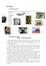 English Worksheets: text about rare species