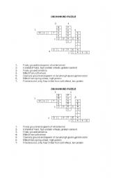 English worksheet: flour types crossword