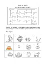 English Worksheet: Easter bingo + Easter maze