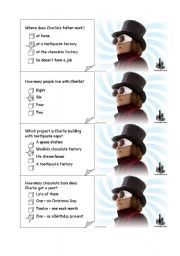 English Worksheet: CHARLIE AND THE CHOCOLATE FACTORY board game CARDS1