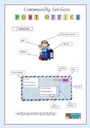 English Worksheet: Community Services 1 - Post Office