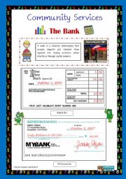 English Worksheet: Community Services 3 - The Bank