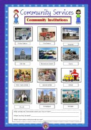 English Worksheet: Community Services 4 - Community Institutions