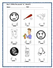 English Worksheets: words with sound a
