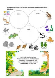 English Worksheet: What do these animals eat?