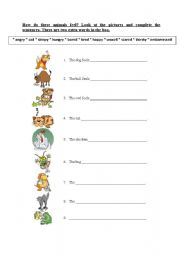 English Worksheets: How do these animals feel?