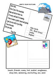 English Worksheet: postcard