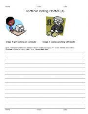 English Worksheets: 3 Level Sentence Writing Practice