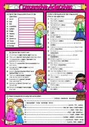 English Worksheet: COMPARATIVES  PART-1(B&W included )