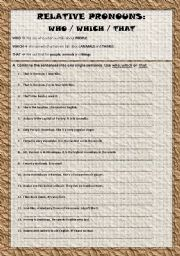English Worksheet: Relative Pronouns - Who/Which/That Pt.1