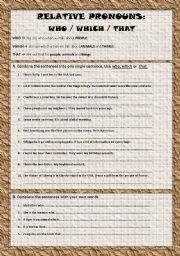 English Worksheets: Relative Pronouns Who/Which/That Pt.2