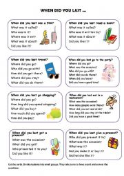 English Worksheets: When did you last... Past Simple (speaking cards)