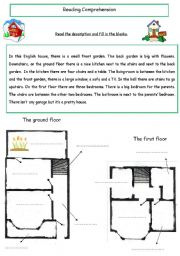 Reading comprehension - description of a house