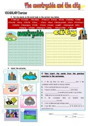 English Worksheet: the countryside and the city