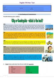 English Worksheet: Test - city or countryside - which is the best? Version 1