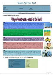English Worksheet: Test- city or countryside - which is the best? Version 2