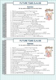 Future Time Clause 2. Exercises. With key.