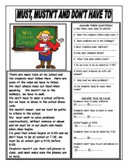 English Worksheet: MUST, MUSTN´T AND DON´T HAVE TO