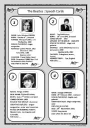 English Worksheets: speech cards: The Beatles