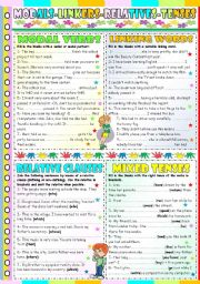 English Worksheet: MODALS-LINKERS-RELATIVE CLAUSES AND MIXED TENSES- REVIEW (KEY INCLUDED)