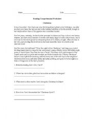 English Worksheets: Reading Comprehension Worksheet