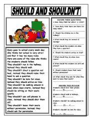 English Worksheet: SHOULD AND SHOULDN´T