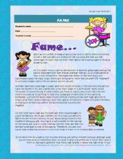 English Worksheet: Fame