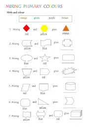english worksheets mixing primary colours. Black Bedroom Furniture Sets. Home Design Ideas
