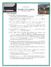 English Worksheet: Video Activity - Short film Island of Flowers (Environment)