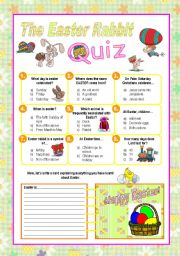 English Worksheet: The easter rabbit quiz