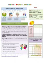 English Worksheet: Seasons, months and weather
