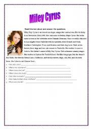 English Worksheets: Miley Cyrus