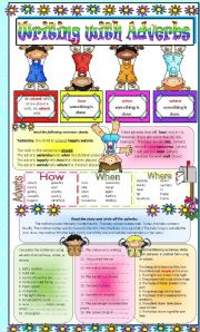 English Worksheets: Writng with Adverbs