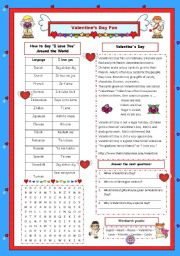 English Worksheet: Valentine´s Day Fun