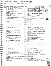 English Worksheets: Modal Verb Test with Objective Questions