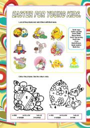 English Worksheet: Easter for young kids.