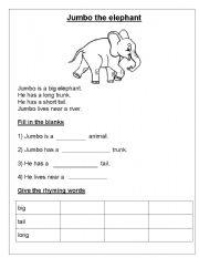 English Worksheets: Jumbo the elephant