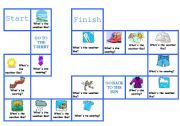 English Worksheet: weather and clothes board game