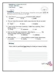 English Worksheets: Vocabulary and Writing class test