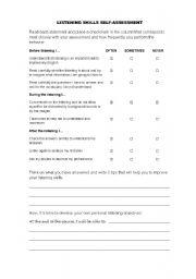 Worksheets Listening Skills Worksheets listening skills worksheets pixelpaperskin english self assessment