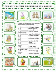 English Worksheet: WHAT WAS THE EASTER BUNNY DOING? -  PAST CONTINUOUS - EDITABLE