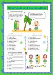 English Worksheets: Commands and Exclamations