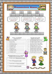 English Worksheets: Posssessive Nouns