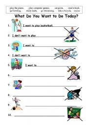 English Worksheets: want to