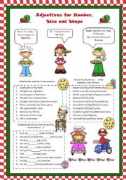 English Worksheets: Adjectives for Number, Size and Shape