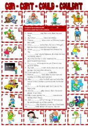 English Worksheet: CAN - CAN´T - COULD - COULDN´T (B&W + KEY included)
