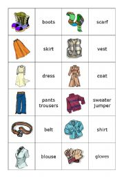 English Worksheets: Memory card game clothes