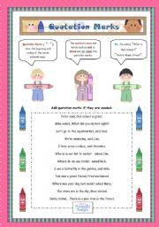 English Worksheet: Quotation Marks