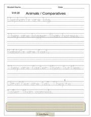 English Worksheet: Animals / Comparatives Handwriting Worksheet