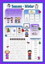 English Worksheet: Seasons- Winter